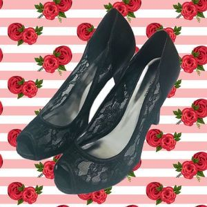 Black Lace and Satin Evening Heels 8.5